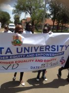 Students during a walk on International Womens Day